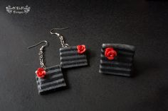 Fimo polymer clay Retro black & grey ring and earrings (set) - pinned by pin4etsy.com