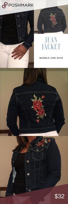 Jean Jacket with flower Appliqué  Jean Jacket with flower Appliqué  Jackets & Coats Jean Jackets