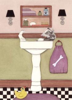 Schnauzer fills a sink at bath time / Lynch by watercolorqueen,
