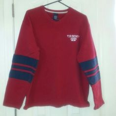 Big comfy Tommy Hilfiger Sweatshirt Red with blue stripes on sleeves. Says tommy jeans on front. Tommy Hilfiger Tops Sweatshirts & Hoodies