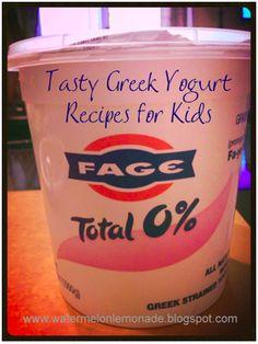1.Strawberry Parfait, 1 c. yogurt, 1 tsp strawberry jam, top w/granola. 2.Blueberries n' Sand,1 c. yogurt, 1/2 c. blueberries, crushed Cheerios ( Sand!) 3.Rainbow Grape Candy, dip grapes in yogurt, top with rainbow sprinkles, freeze overnight on tray. 4.Choco Peanut Freeze, 1 c. yogurt,  lge. dollop peanut butter and Nutella, freeze for 30 minutes. 5.Honey Bunny, 1 c. yogurt, drizzle with honey, top with granola. 6.Funky Monkey, toast bread, smear layer yogurt and jam, top sliced banana.