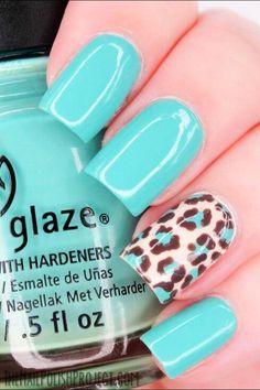 #Torquise #cheetahprint #nails