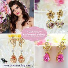 Pink Crystal Earrings Blue Opal Earrings Pink Swarovski