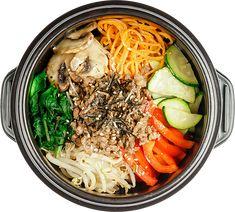 Bibimshack Stuffed Sweet Peppers, Stuffed Mushrooms, Dinner Menu, Dinner Recipes, Marinated Beef, Bulgogi, Bean Sprouts, Food To Go, Korean Food