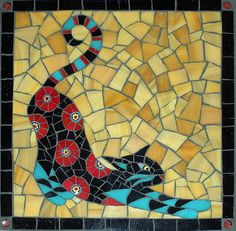 Gallery of stained glass mosaic cats by Santa Barbara, CA artist Christine Brallier. Mosaic Stepping Stones, Stone Mosaic, Mosaic Glass, Glass Art, Mosaic Crafts, Mosaic Projects, Art Projects, Stained Glass Patterns, Mosaic Patterns