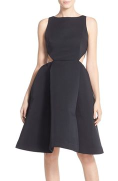 c2ca707cd4f3 Halston Heritage Side Cutout Bateau Neck Satin Faille Fit & Flare Dress  available at #