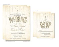 Glitter Look Wedding Invitation and RSVP Card Set  - DIY Printable or Printed Invitations on Etsy, 34,48 €