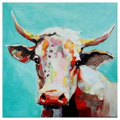 Molly Cow Whimsical Animals Canvas Wall Art