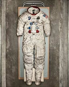 The spacesuit worn by Neil Armstrong during the Apollo 11 moon landing. When he flew into space, the first man to walk on the moon was equipped with an OMEGA Speedmaster – which became the first watch worn on the moon during that historic mission.