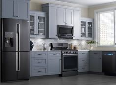 GE slate appliances- my appliances with grey cabinets