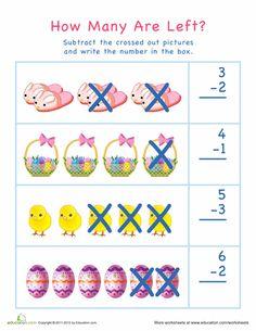 Easter Kindergarten Subtraction Worksheets: Subtraction for Visual Learners: Easter Subtraction Kindergarten, Preschool Math, Kindergarten Worksheets, Subtraction Worksheets, Easter Worksheets, Free Printable Math Worksheets, Addition Flashcards, Addition And Subtraction Practice, Visual Learning