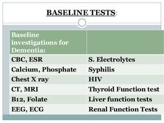 BASELINE TESTS:  Baseline  investigations for  Dementia:  CBC, ESR S. Electrolytes  Calcium, Phosphate Syphilis  Chest X r...