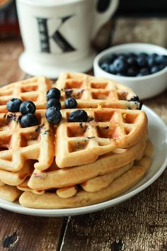Whole Wheat Lemon Blueberry Waffles, these Waffles are packed with juicy blueberries and fresh lemon zest for the perfect light summer breakfast recipe!   joyfulhealthyeats.com #brunch #mothersday