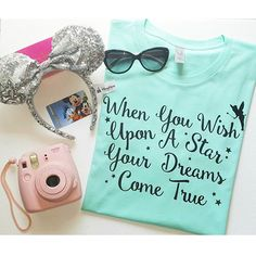 """ When You Wish Upon a Star "" - Disney Quote T-Shirt, Tee. Great for Disneyland…"