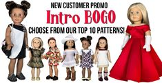 Introduce yourself to Appletotes & Co. premium 18 inch doll sewing patterns with our Intro BOGO promotion! Use coupon code: INTROBOGO for a Buy One, Get One FREE deal (limit 2 per customer, meaning you can choose to Buy Two and Get Two FREE!) on our ten most popular patterns, including the stunning Carolina Gown an Doll Dress Patterns, Doll Sewing Patterns, Clothing Patterns, Parker Jacket, American Girl Diy, Girl Doll Clothes, 18 Inch Doll, Inspired, Paper Dolls
