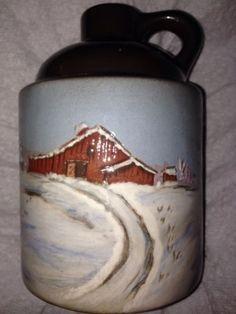 Wihoa-Sands-Art-Pottery-Winter-Scene-Jug-Signed-J-Ault-Kin-To-Wisecarver