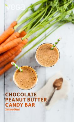 Chocolate Peanut Butter Candy Bar Smoothie: Vega's very own Educator, Paige Snyder shares one of her favorite smoothie recipes with us. Her chocolate peanut butter smoothie reminds us of a certain orange, crispety crunchety candy bar. Luckily you can sip this smoothie guilt-free, since it's loaded with 25 grams of plant-based protein, vitamin A and Vega Maca powder.  #BESTSMOOTHIE  #VEGASMOOTHIE