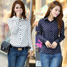 2013 New Womens Long Sleeve Chiffon Shirt Polka Dot Tops OL/Casual Blouse M L