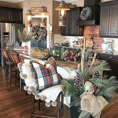 Farmhouse Christmas Kitchen – The. Christmas Kitchen, Christmas Home, Country Christmas, Xmas, Christmas Living Room Decor, Cabin Christmas Decor, Christmas Staircase, Outdoor Christmas, White Christmas