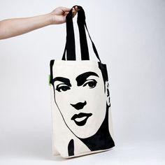 I just love this super graphic Frida bag from myTop 10 Frida Kahlo Wants  (via alfalfa-seeds.com::Beautiful Bag Ladies::Frida)