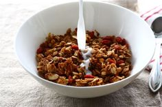 vanilla almond goji berry granola  ....A note. goji berries are NASTY. SO I used dried blueberries and this was DELCIOUS. :-) DH says: best granola i've ever had