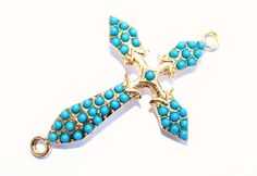 NEW SALE Turquoise Beaded Sideways Cross Connector by PurseSlore, $2.40