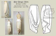 Построение Dior-овской драпированной юбки (Diy)