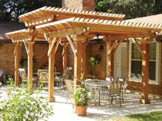 I love the stately effect of this three level pergola. It gives a feel of a pagoda inspired craftsman pergola. The huge columns even allow for electricity and ceiling fans. Multi-level wood pergola in Durham (Outdoor Wood Pergola) Diy Pergola, Building A Pergola, Wood Pergola, Pergola Canopy, Outdoor Pergola, Backyard Patio, Pergola Ideas, Arbor Ideas, Pergola Roof