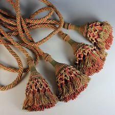 Pair Antique French Drapery Tie Backs with Tassels Tiebacks