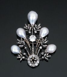 chaumet Diamond and natural baroque pearl belle epoche  brooch.  Magnifique !