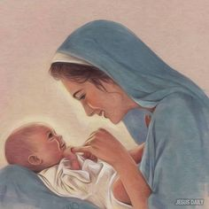 Mary playing with Jesus. We know she was the mother of G-d, but we never seem to really think of her mothering beyond the birth. Mother Art, Mother And Child, Catholic Art, Religious Art, Image Jesus, Religious Pictures, Blessed Mother Mary, Jesus Art, Mary And Jesus