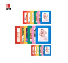 18-Sheet Magnetic Picture Frame for Refrigerator Magnets 4 x 6, 3.5 x 5, 5 x 7, 2.5 x 3.5, 2.5 x 3 inch, Colorful, By Lubber