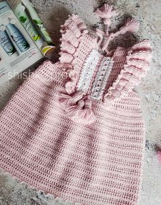 Crochet Baby Clothes, Crochet Hats, Dress With Cardigan, Pinafore Dress, Crochet For Kids, Baby Dress, Crochet Patterns, Girls Dresses, Baby Coming Home Outfit