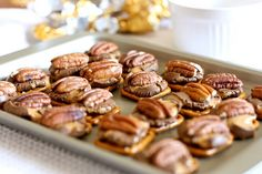 Pretzel Rolo Turtles                                      Ingredients   ◦20 Miniature Pretzels,   ◦20 Rolo Candies, unwrapped   ◦20 Pecans, toasted     Instructions     1.Preheat the oven to 350.   2.Place the pecans on a baking sheet and toast for about 7 minutes or until fragrant.   3.Remove them from the oven.   4.On a small baking sheet, arrange the pretzels.   5.Place one Rolo on top of each pretzel   6.Place them in the oven for about 4-5 minutes.   7.Remove the pan and smoosh one pecan on top of each Rolo.       In a pinch and dont want to turn on the oven? Just want ONE?   Place a pretzel and a Rolo on a microwave safe plate and nuke for 15 seconds. Remove from the microwave and smoosh the pecan into the Rolo.     This recipe is for 20 candies, but you can make however many you would like.