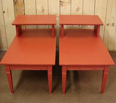 Pair Red Chalk Painted End Tables  Priced by ReclaimedDesignment, $99.00