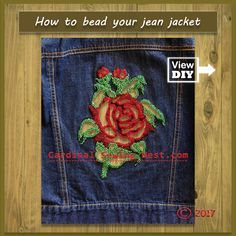 Easy to follow step by step tutorial on How to make a stencil from an image, How to cut out shapes in fabric and How to hand bead. Do not be intimidated by this DIY  jean jacket, it is really simple to execute.