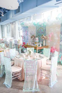 Guest Table from a Mermaid Oasis Themed Birthday Party via Kara's Party Ideas   KarasPartyIdeas.com (52)