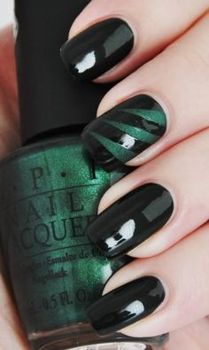 emerald & black nails