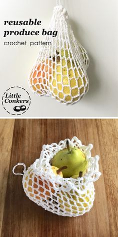 Crochet your own reusable produce bags to use instead of plastic. Easy beginner crochet mesh bag pattern. Super-simple crochet pattern that can easily be adjusted to make a bag the size you want.