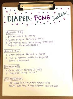 DIY Diaper Pong Baby Shower Game - How To Play - Rules Of The Game, Points and Complete Instructions