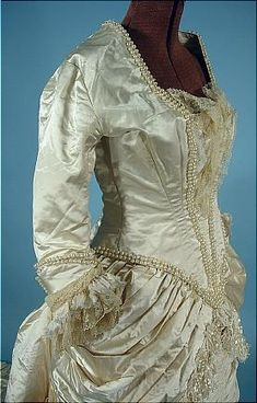 Circa 1882 Wedding Bustle Gown of Ivory Satin with Pearls and Silk Confetti Fringe! Back Lacing! Long Train. Detail