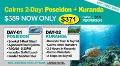 Poseidon Dive & Snorkel + Kuranda Train & Skyrail 2-Day Cairns Tour Package