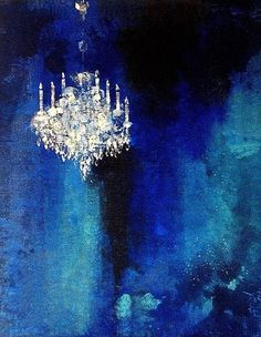 Buy Gran Gala, a Acrylic on Canvas by Claudio Missagia from France. It portrays: Interiors, relevant to: blue, Venice, chandelier, venise, missagia, palazzo, interior, lustre acrylic and plaster on raw jute canvas Crystal chandelier from a venetian Palazzo.