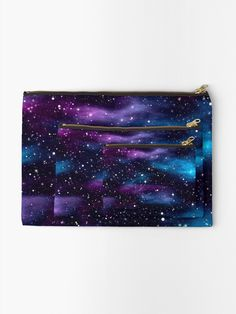 """Starry Sky Galaxy"" Zipper Pouch by HavenDesign Galaxy Print, Office And School Supplies, Gifts For Family, Zipper Pouch, Makeup Yourself, Pouches, Are You The One, Purple, Blue"