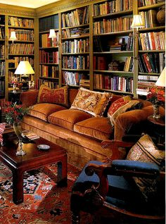 Library... yet also drawing room... that sofa + rug....and the books!...