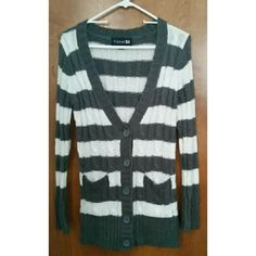 Striped Sweater Gray and white striped button up sweater with two pockets on the front. Perfect condition.  - Bundle! Check out my closet! - Forever 21 Sweaters Cardigans