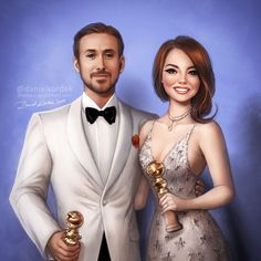 Golden Globes: Ryan Gosling and Emma Stone by daekazu.deviantart.com on @DeviantArt