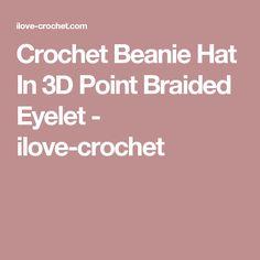 Crochet Beanie Hat In 3D Point Braided Eyelet - ilove-crochet