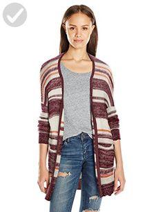 Billabong Juniors Stripes Over You Cardigan Sweater, Mystic Maroon, Medium - All about women (*Amazon Partner-Link)