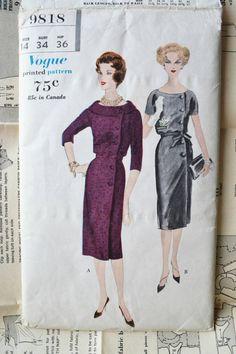 Vogue sewing patterns 9818 50s one piece dress Bust 34 door Tigrisa